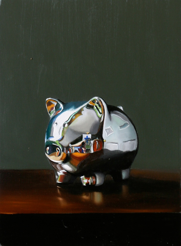 """Reliable Banking 8"""" x 10"""" oil on panel SOLD"""