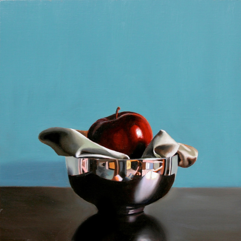 """Apple a Day 12"""" x 12"""" oil on panel SOLD"""