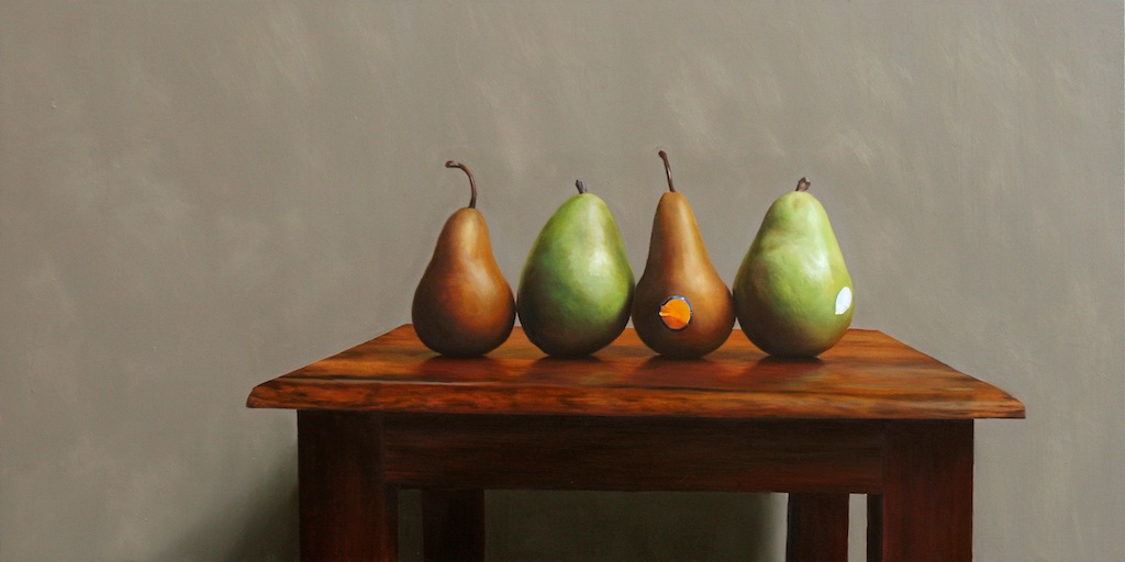 """The Double Date 15"""" x 30"""" Oil on Panel SOLD"""