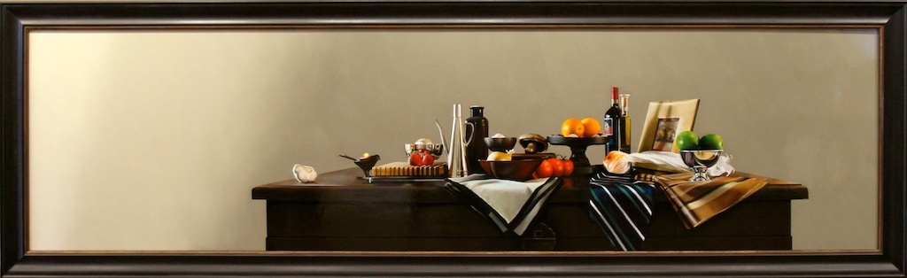 """The Uninterrupted Hours of Time 24"""" x 92"""" Oil on Panel SOLD"""