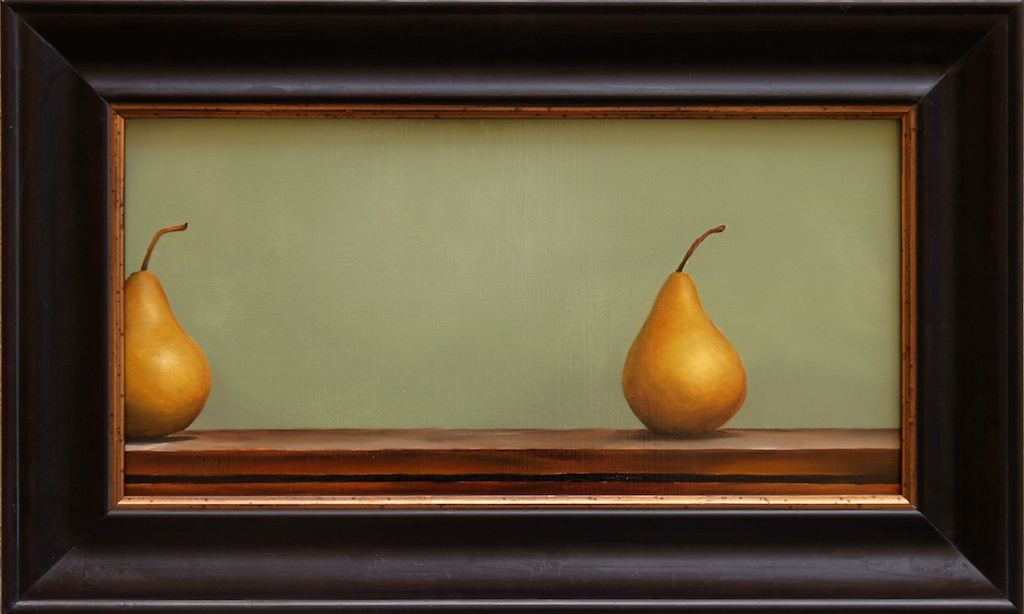 """Nearly Identical, Randomly Placed Pears 10"""" x 20"""" Oil on Linen SOLD"""