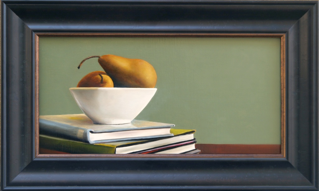 """The Well Informed Pears  10"""" x 20"""" Oil on Linen SOLD"""