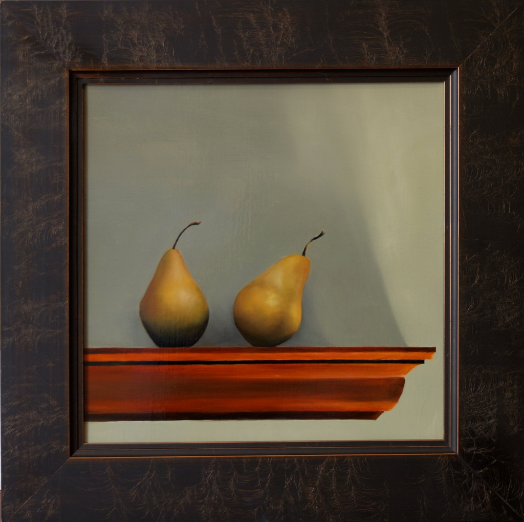 """Nearly Identical Pears 16"""" x 16"""" Oil on Linen SOLD"""