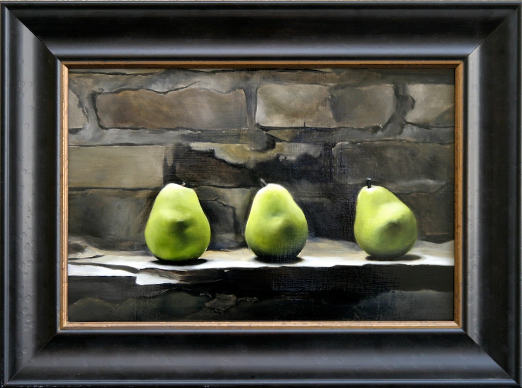 """Pears on the Rocks 12"""" x 18"""" Oil on Linen SOLD"""