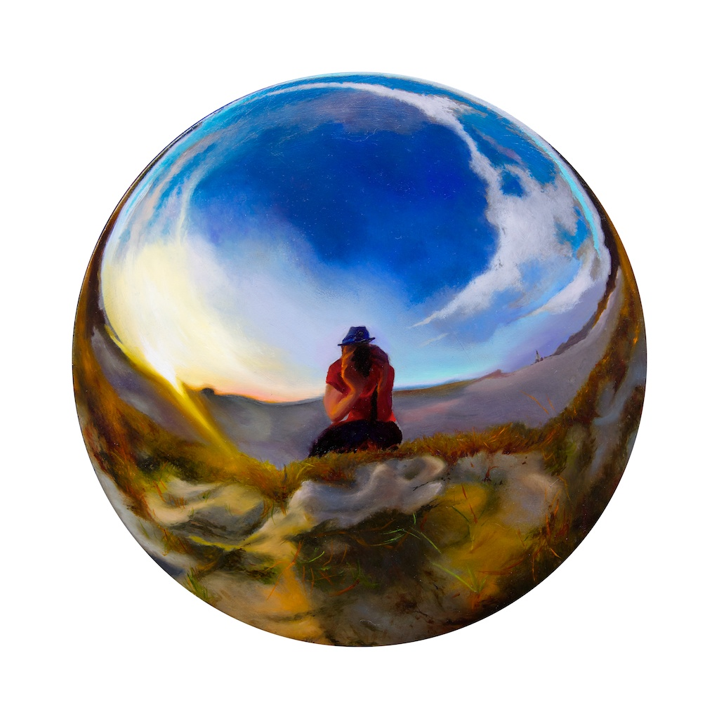 "Observing the Full Circle 8"" round oil on panel SOLD"