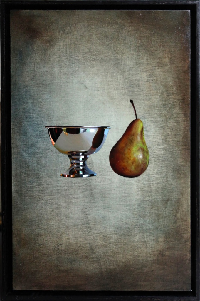 "Studying the Reflected Pear 12"" x 18"" oil on panel SOLD"