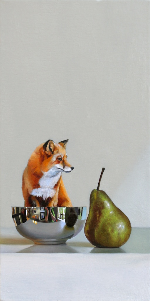 "The Fox and the Pear 10 x 22"" oil on panel SOLD"