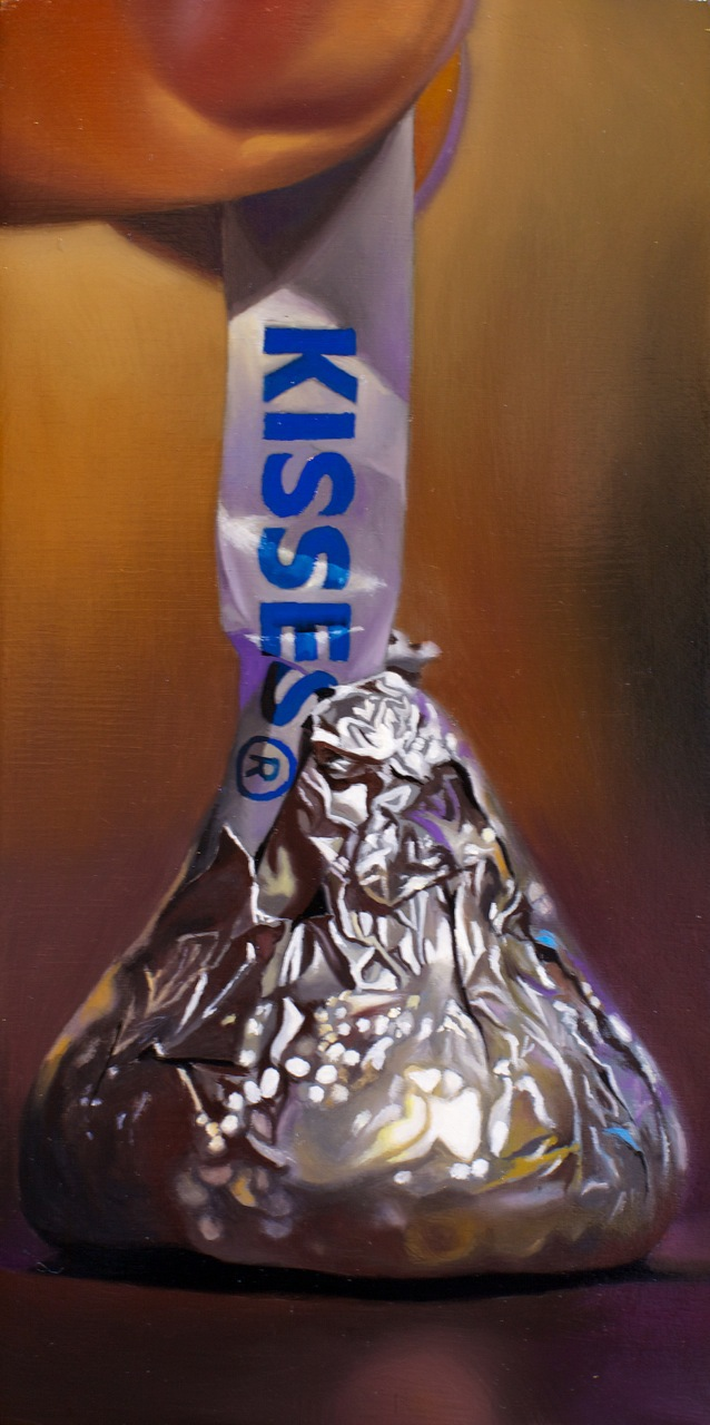 "Kisses 5"" x 10"" oil on panel"