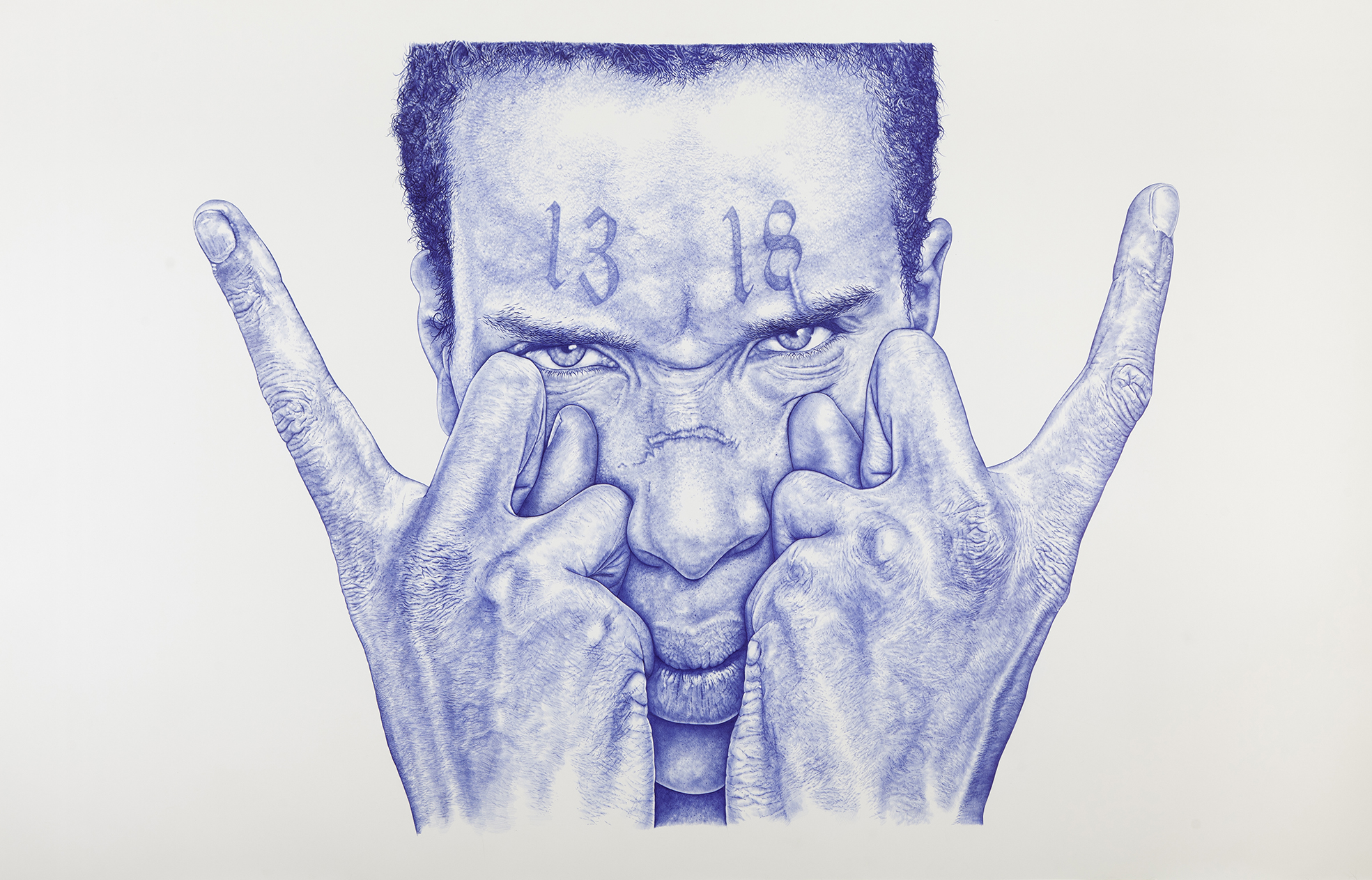 THE KID   « Let he who has understanding calculate the number of the beast, for this number is that of a man. »,   2015. W 94,5 x H 71,65 x D 2,36 in. / L 240 x H 182 x P 6 cm. Blue Bic biro on paper. / Stylo Bic bleu sur papier. Private Collection, Switzerland. ©2015 THE KID all rights reserved / tous droits réservés.