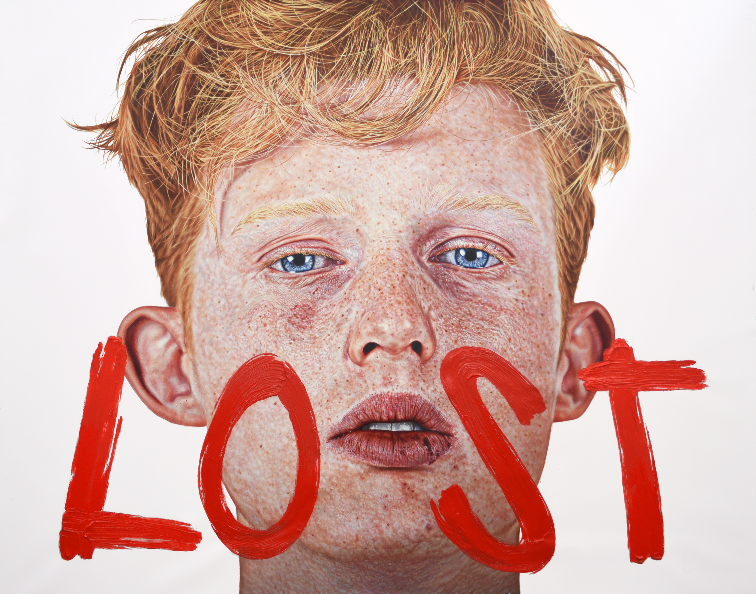 LOST,        2016. Oil paint and egg tempera on canvas.      1  58     x 190 x 6 cm. / 62 1/5 x 74 4/5 x 2 1/3 in.    Private Collection, France.