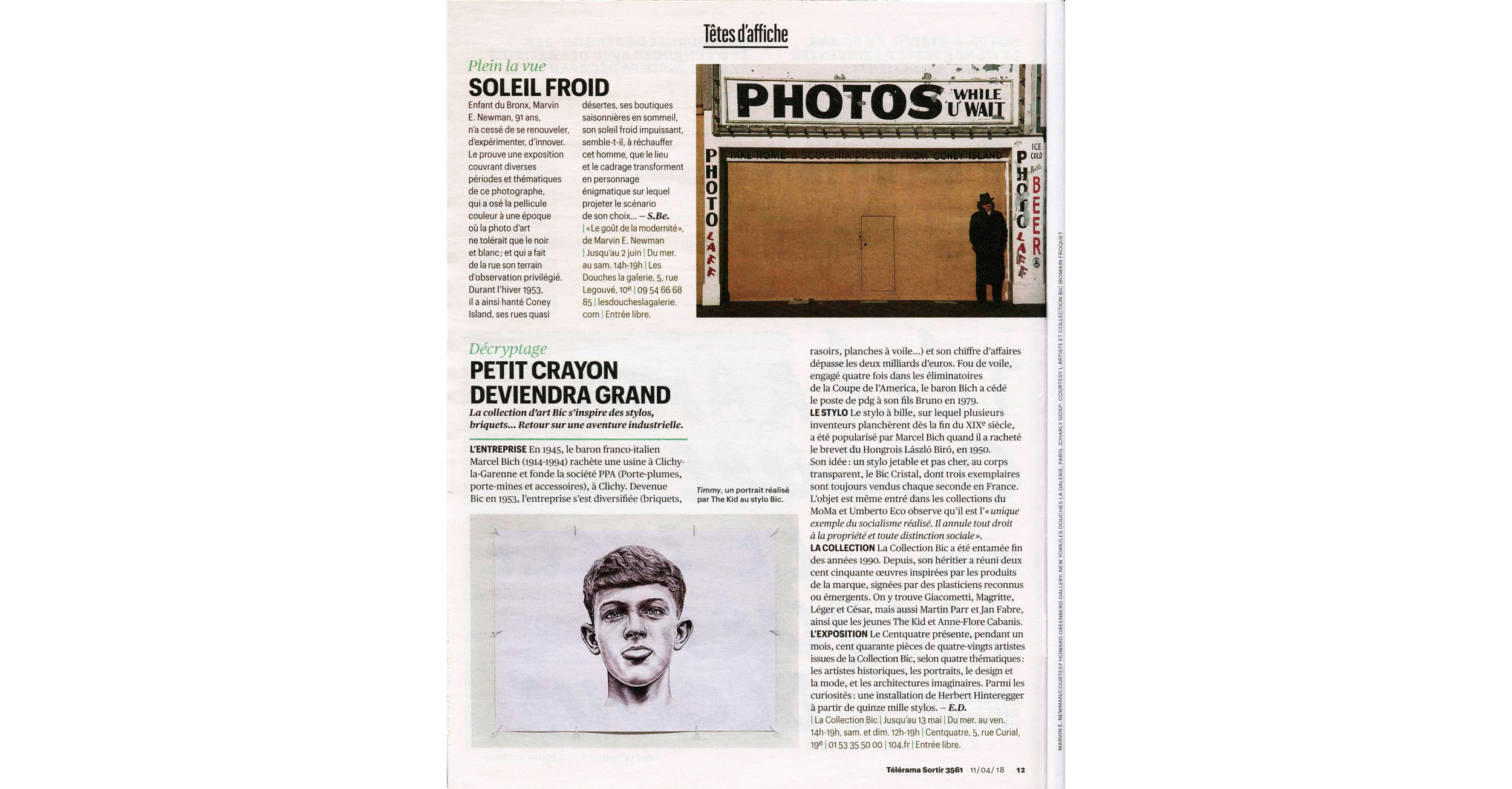 THE KID in TELERAMA Magazine - April 14 2018 Print Issue - France - Page 12 - Page 12 - 150dpi - Web wb.jpg