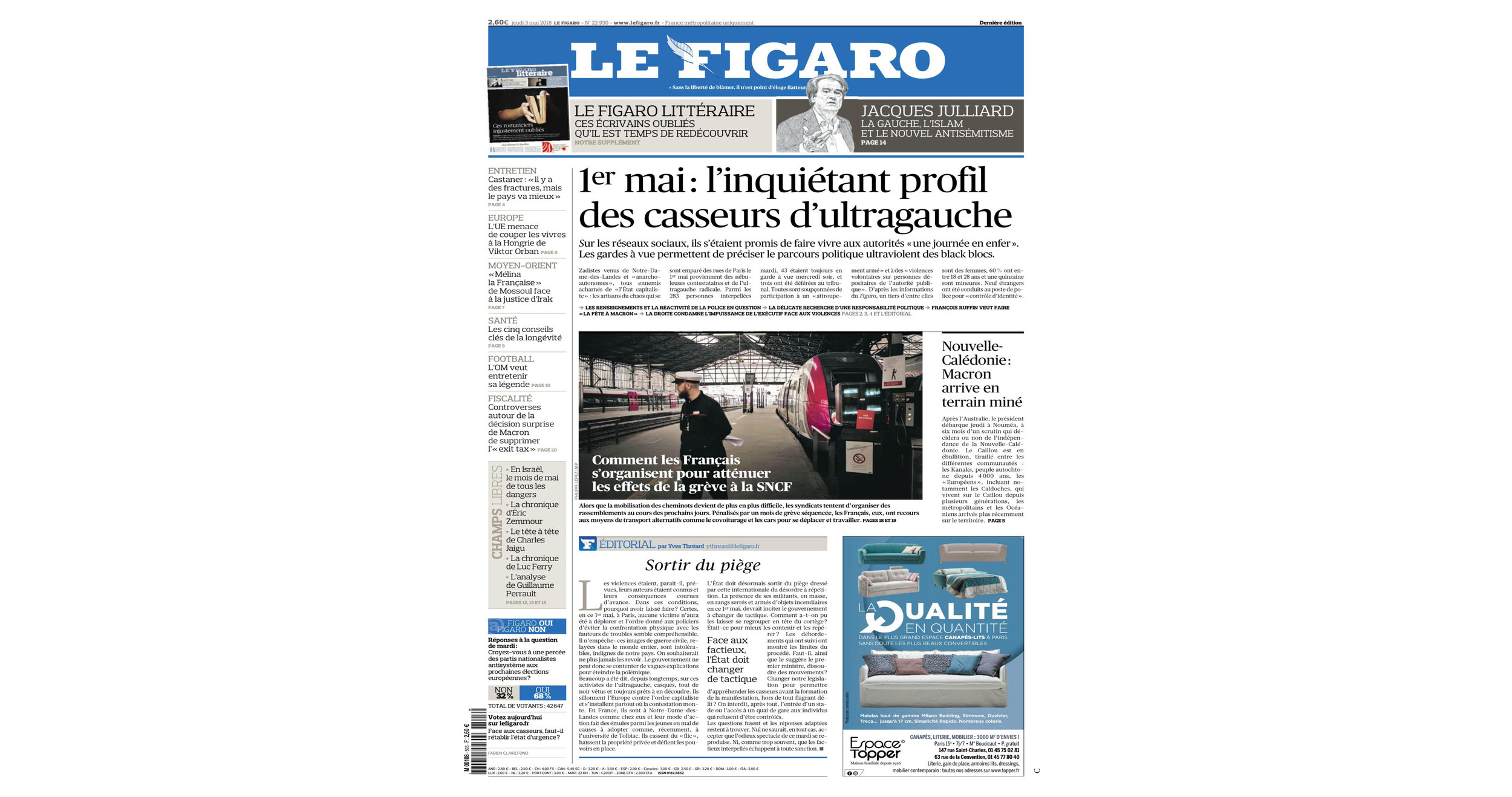 THE KID in LE FIGARO Newspaper - Leading National Daily Newspaper - Print Issue - France - June 03 2018 - Page 27 - Cover page.jpg