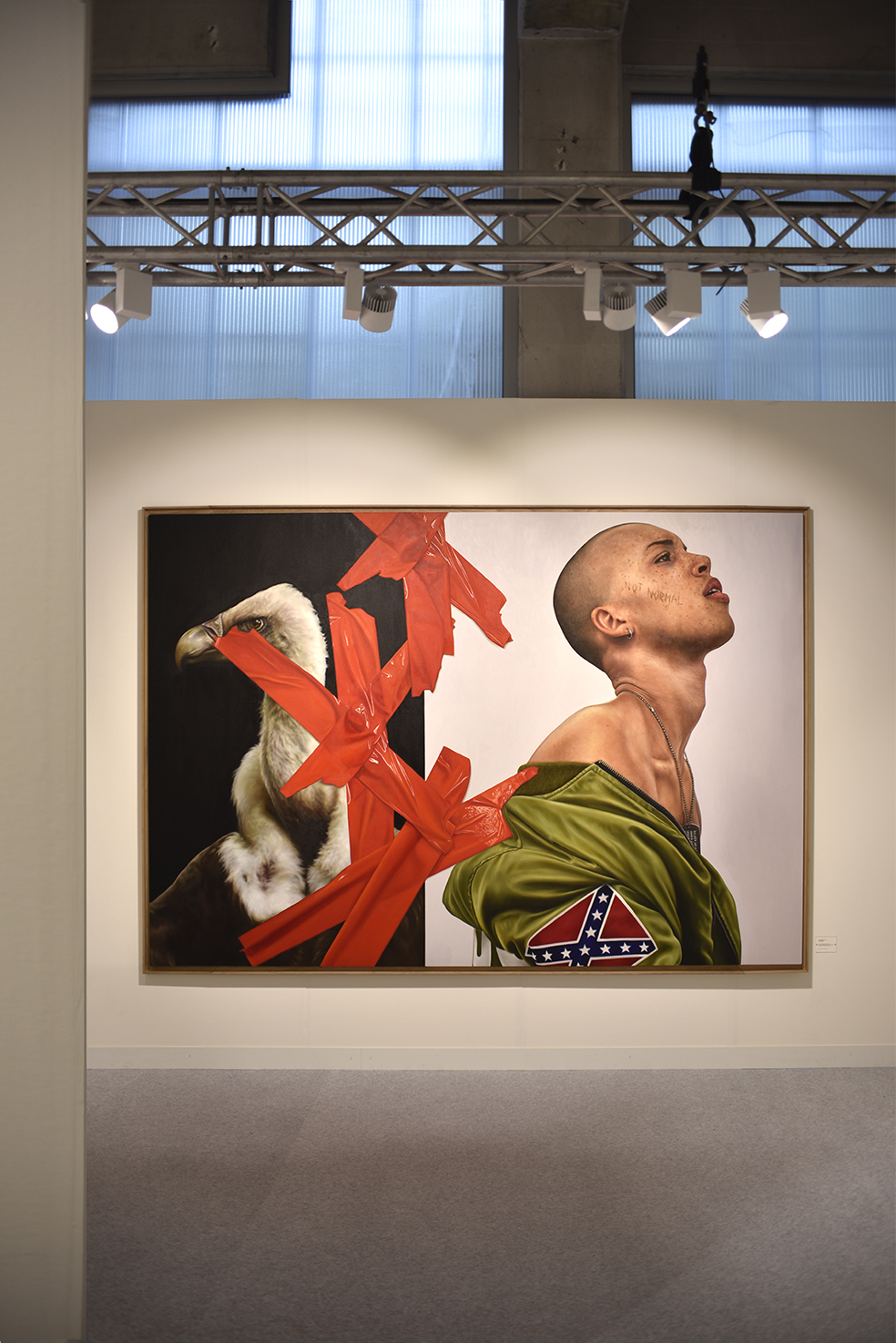 Not Normal  - Art Basel 2019 Exhibition View - THE KID - 2019 - Oil and egg tempera on canvas - 306 x 206 cm - Institutional Collection, Switzerland ©THE KID