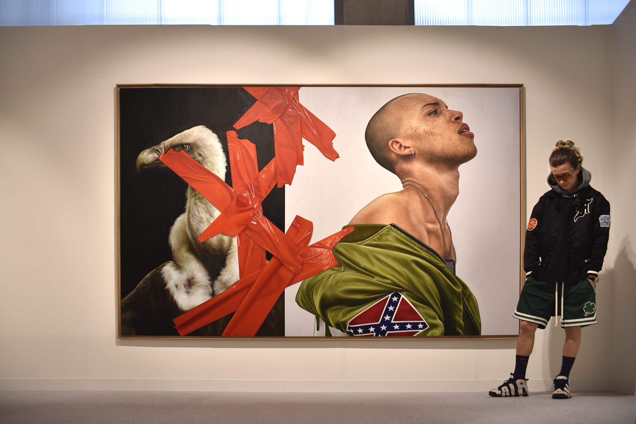 Not Normal  - Art Basel 2019 Exhibition View With The Artist - THE KID - 2019 - Oil and egg tempera on canvas - 306 x 206 cm - Institutional Collection, Switzerland ©THE KID