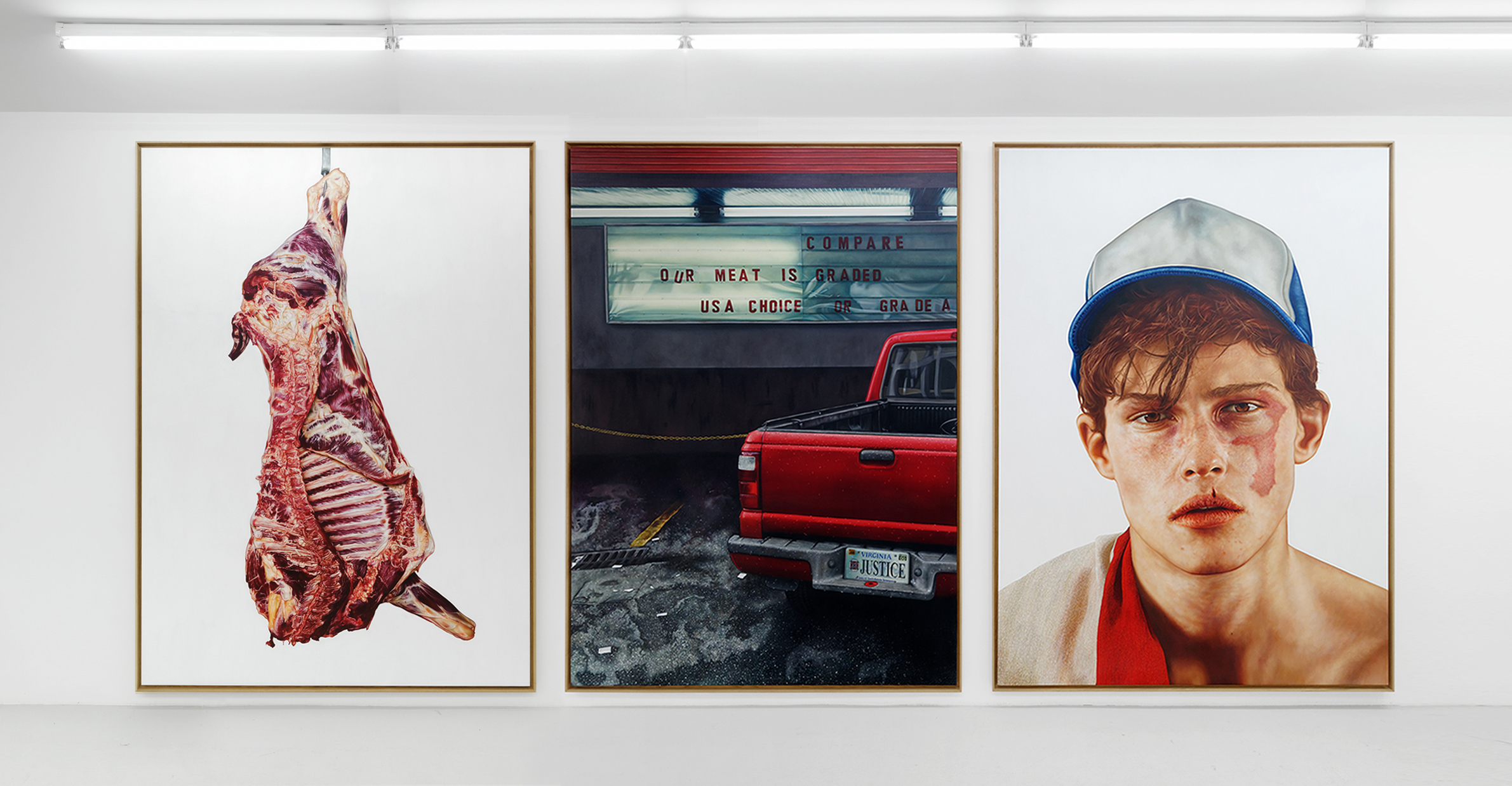 Our Meat Is USA Choice  - Triptych - THE KID - 2019 - Oil and egg tempera on canvas - 275 x 600 cm. / 108 x 236 in. - Private collection, USA - ©THE KID / All rights reserved
