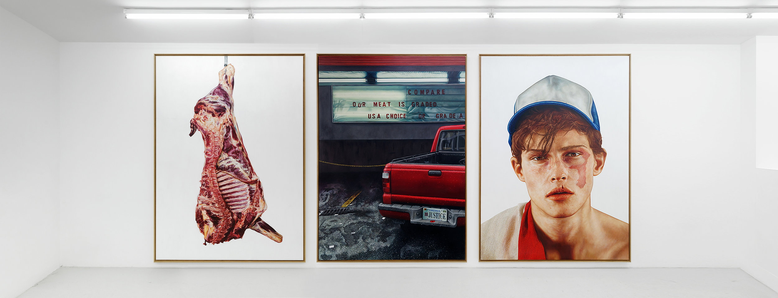 Our Meat Is USA Choice - Triptych - THE KID - 2019 - Framed preview - Oil and egg tempera on canvas - 275 x 200 x 6 cm per panel 275 x 600 x 6 cm in total ©THE KID all rights reserved - Gallery View Def.jpg