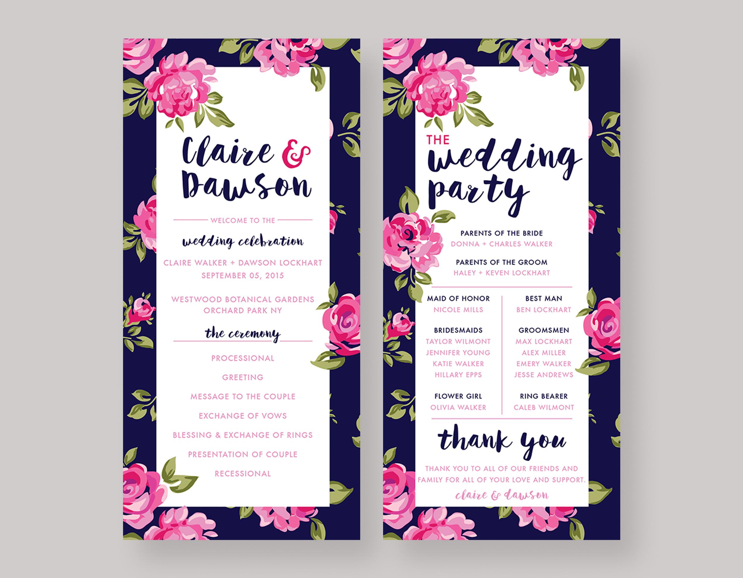 """WEDDING PROGRAM—""""Claire"""" $25.00+"""