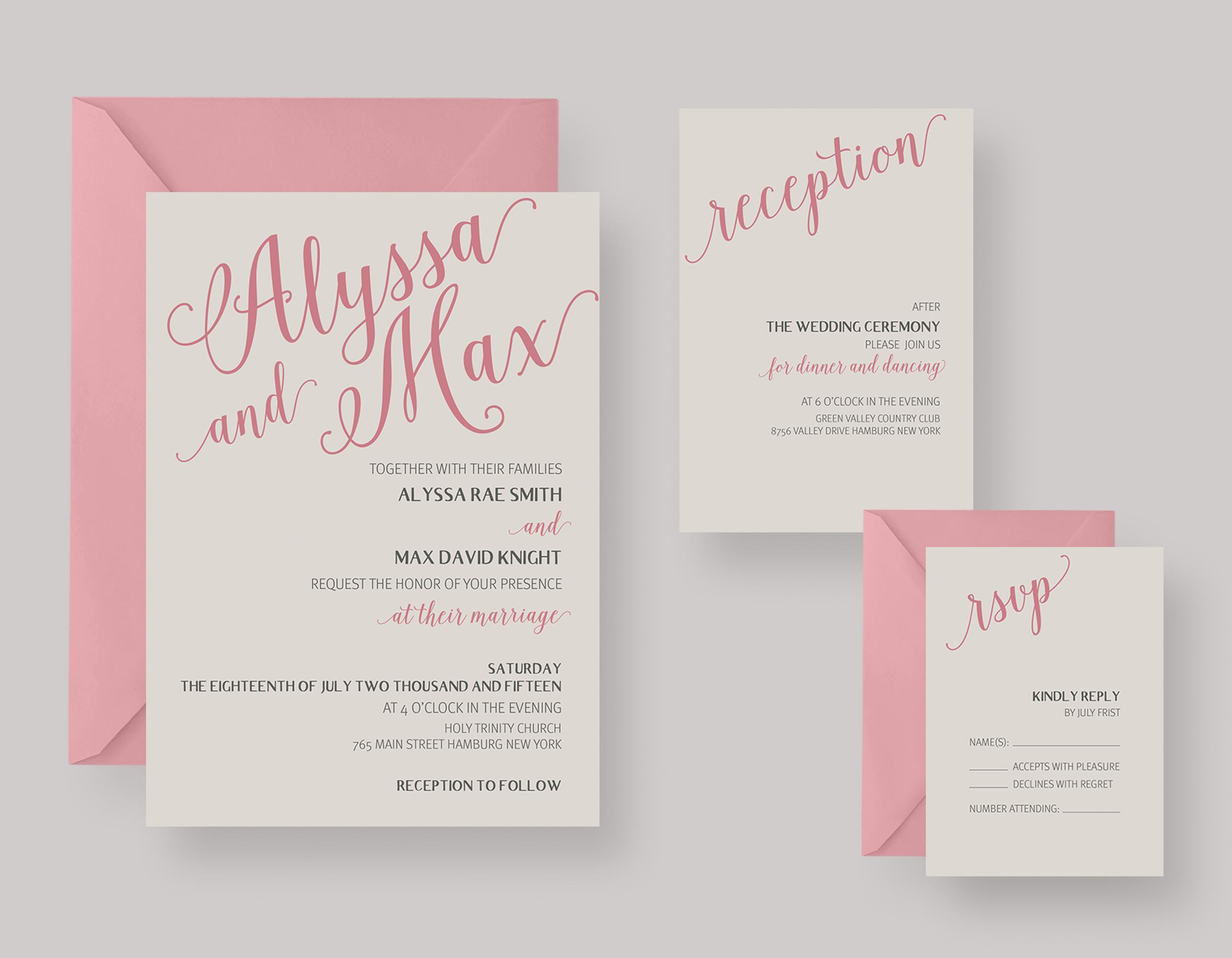 """WEDDING INVITATION—""""Alyssa"""" $20.00+"""