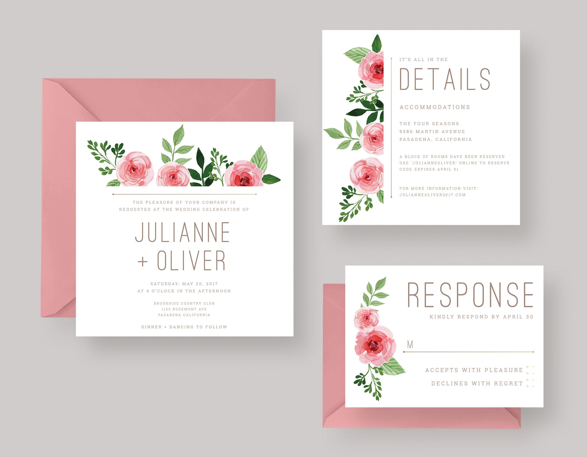"WEDDING INVITATION SUITE—""Julianne"" $20.00+"