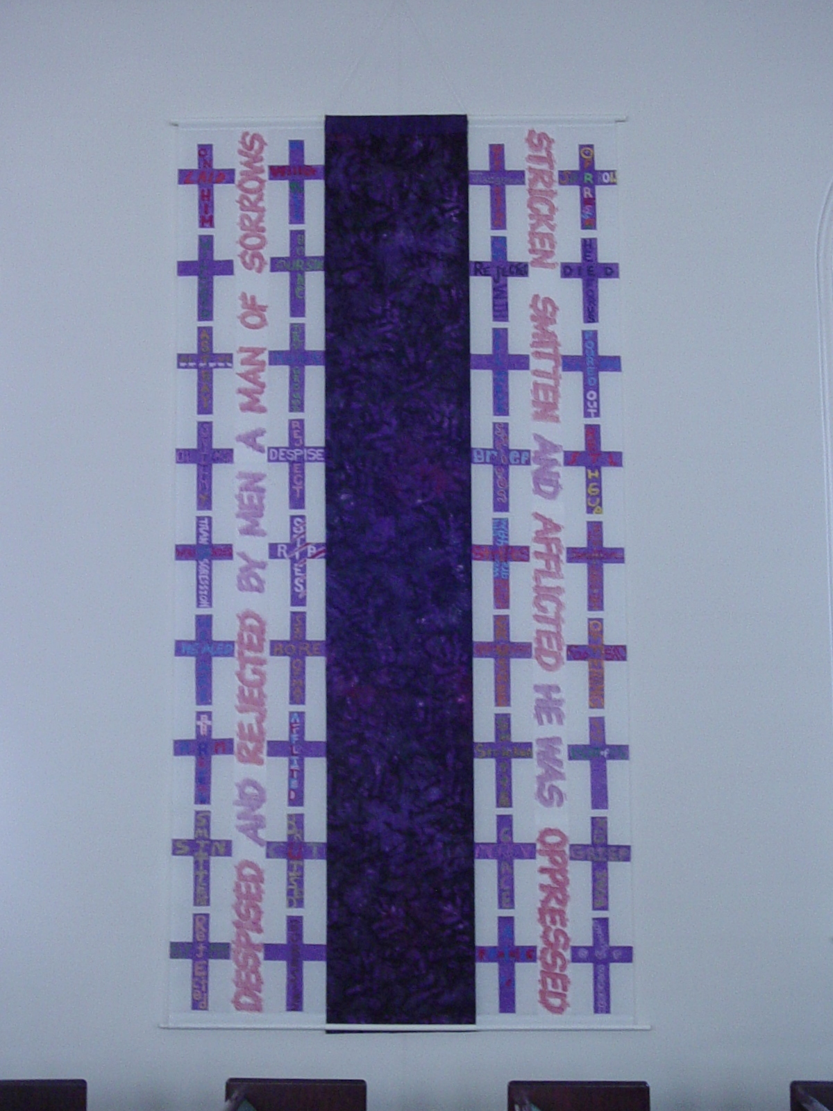 Isaiah 53 Nave Hangings (1 of 2) with purple batik inset, community-made crosses