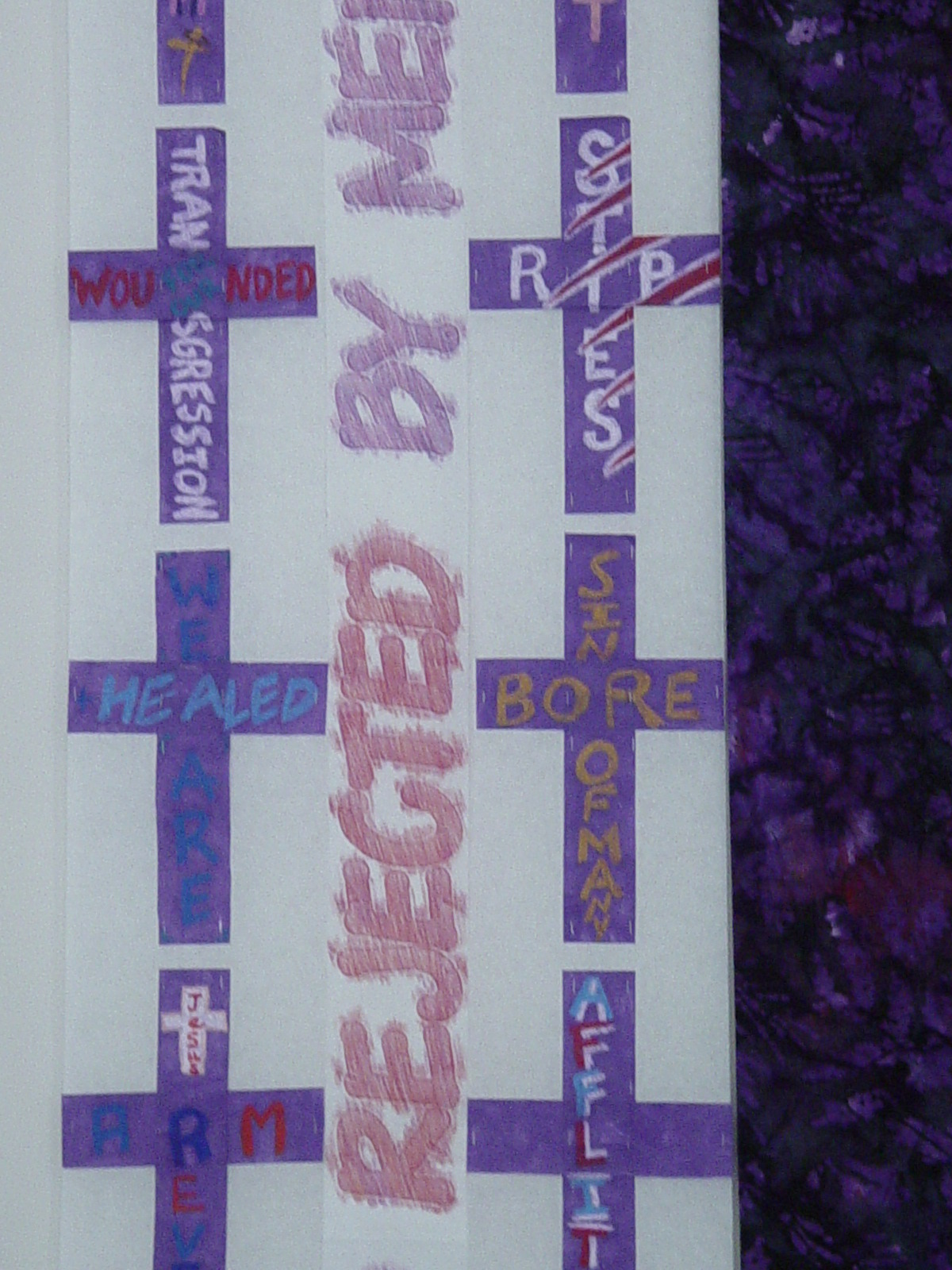Detail, Isaiah 53 community-made crosses