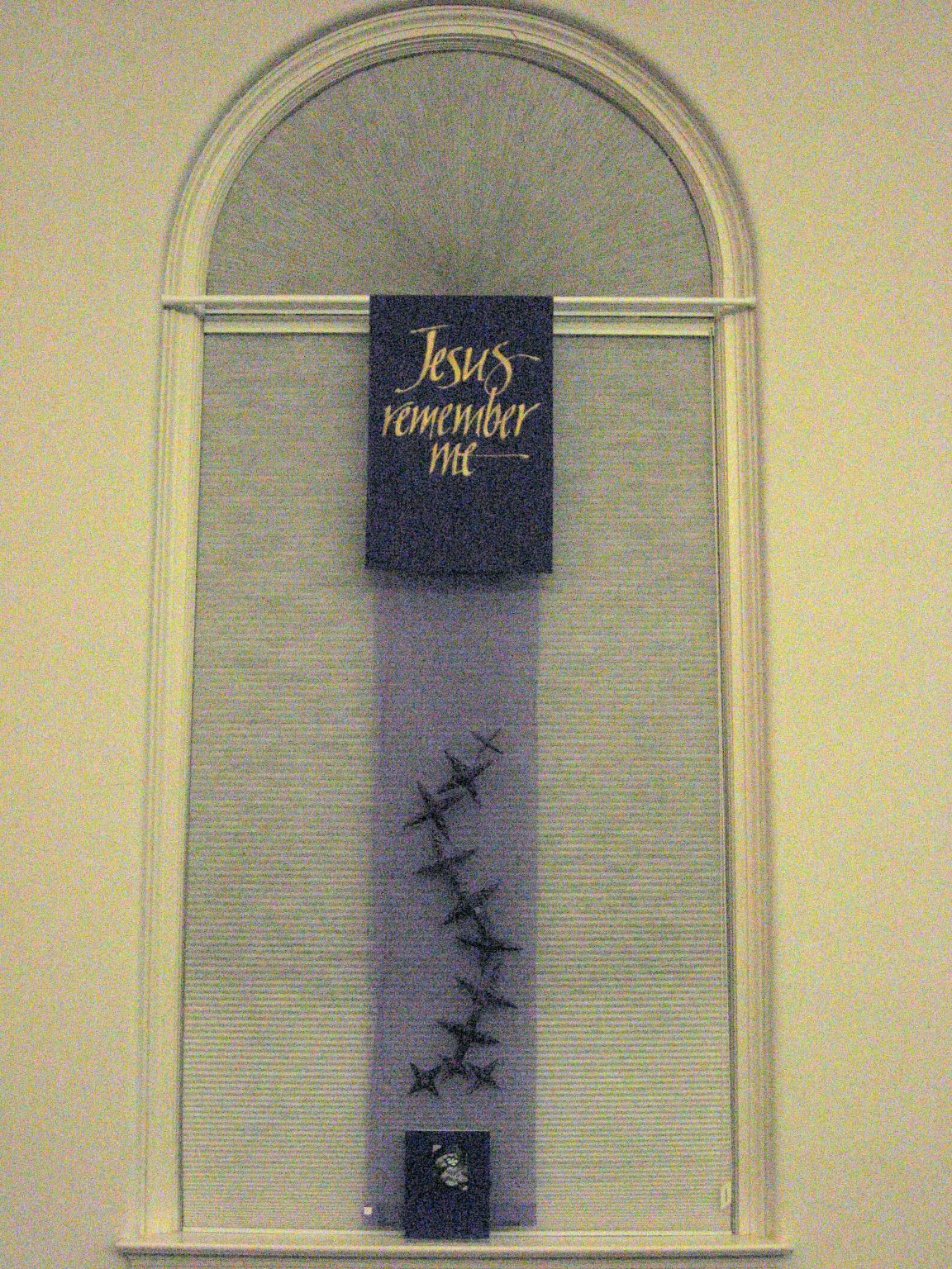 Nave Window Installation (1 of 7), community-made thorns with Meditation Folder, Lent