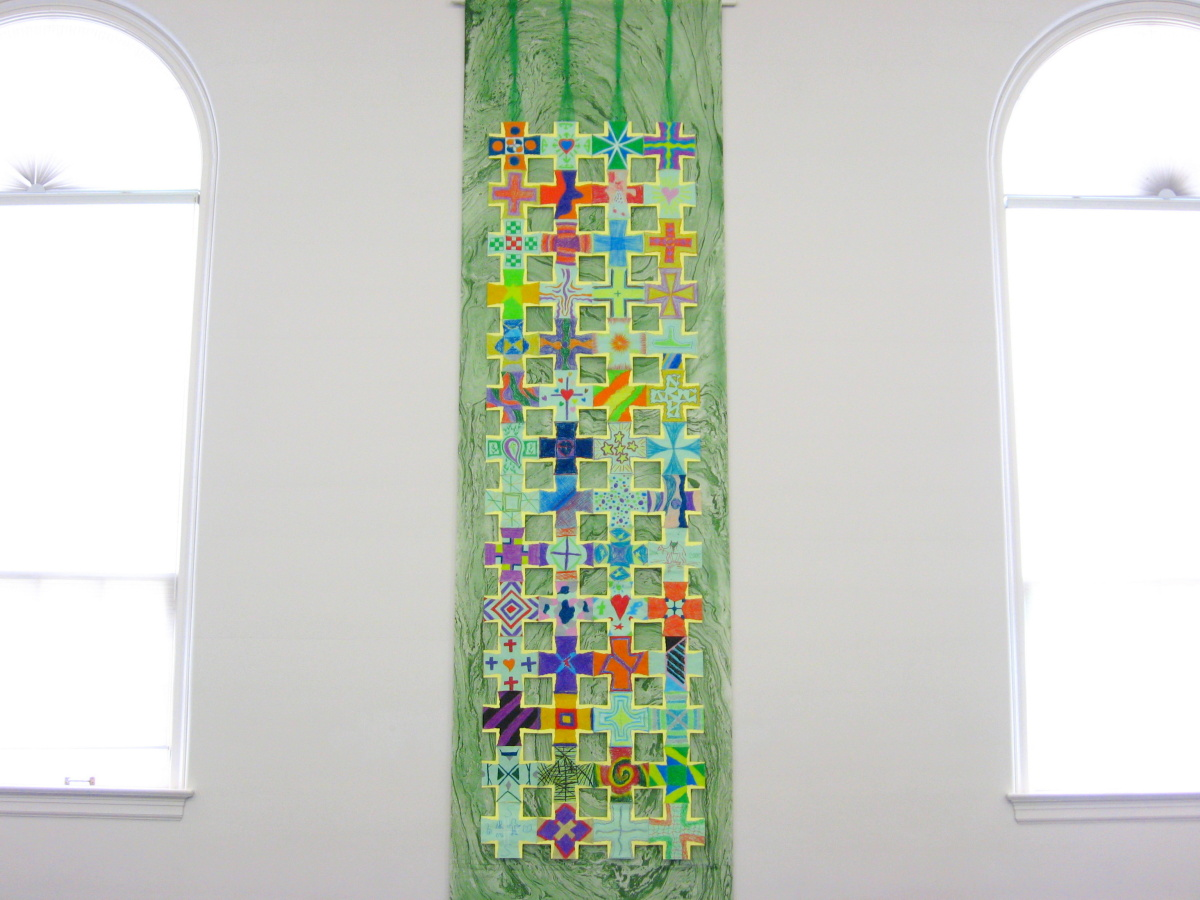 Nave Hanging (1 of 2), 15 ft long community Crosses on cloth