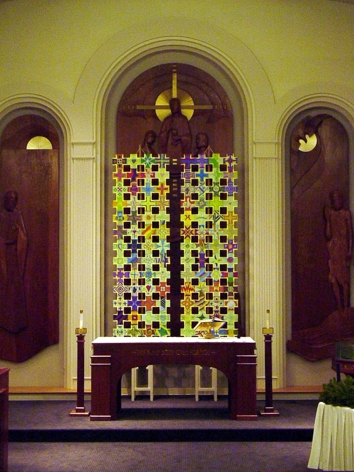Chancel Installation, community-made Crosses of Discipleship