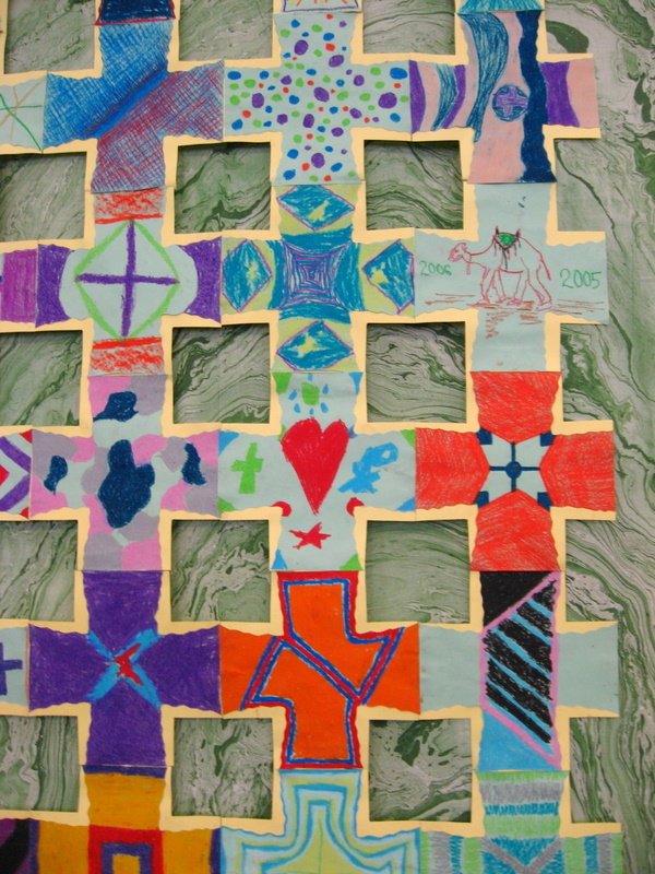 Detail, community-made Crosses over marbleized cloth