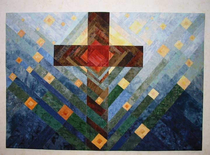'In The Light', Scheidt Memorial, pieced cloth, Lutheran Church of The Redeemer, Birmingham, MI