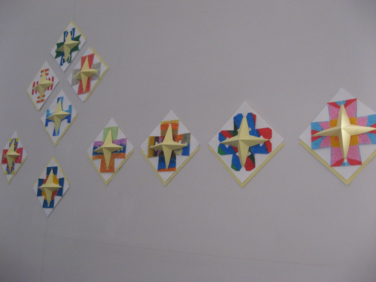 Detail, Nave wall installation, 12 ft wide sections, community-made Greek crosses