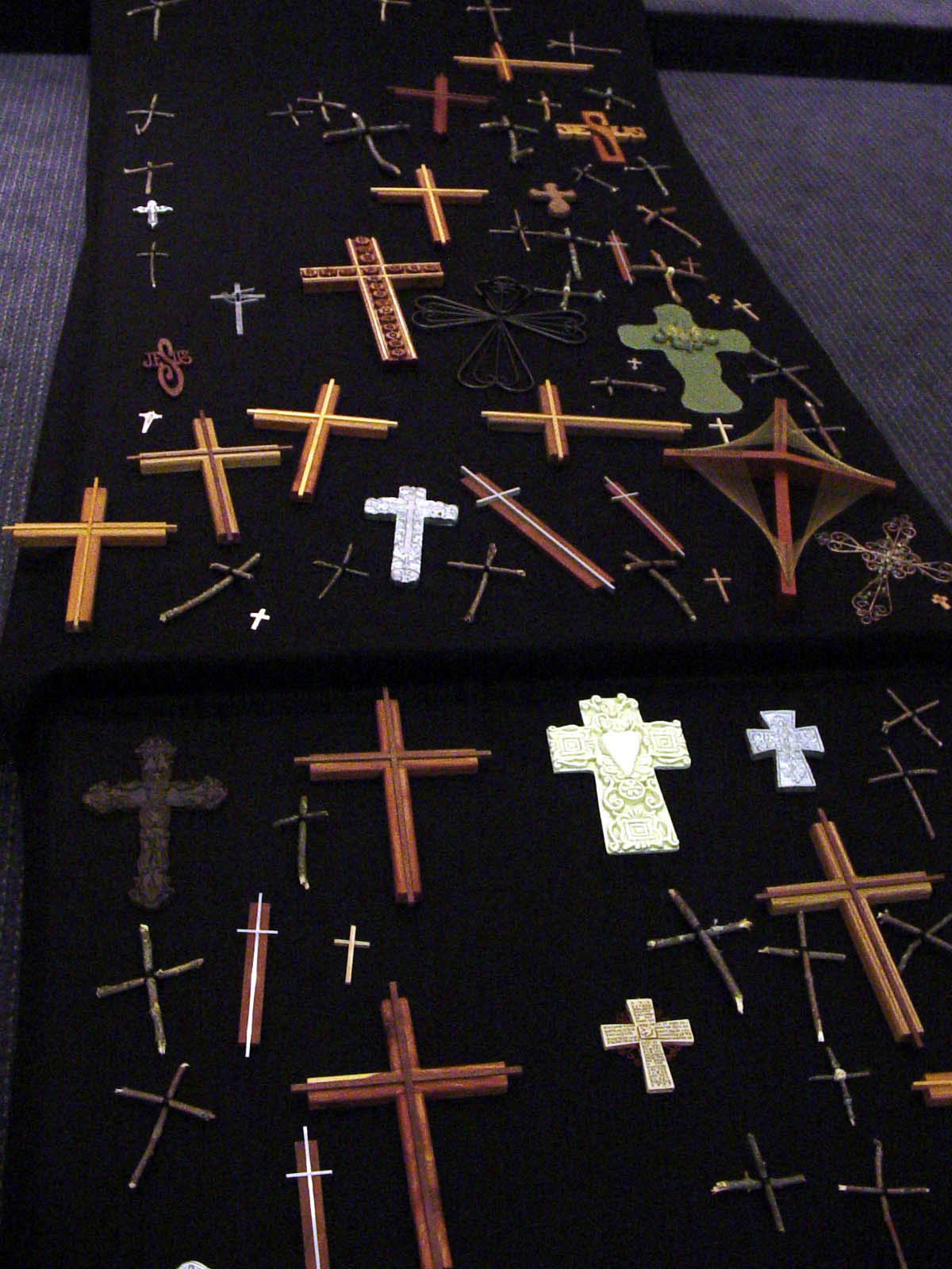 Close-up, vertical runner with community devotional crosses
