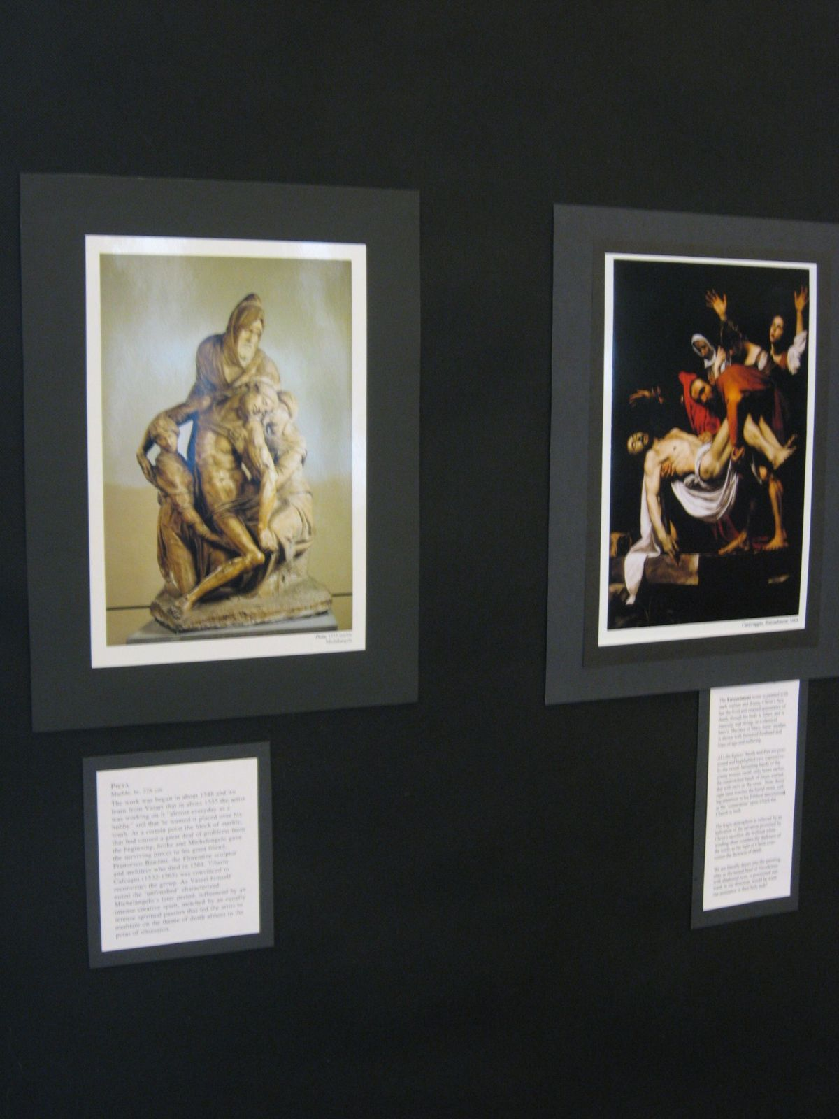 Close-up, Michelangelo and Caravaggio reproductions