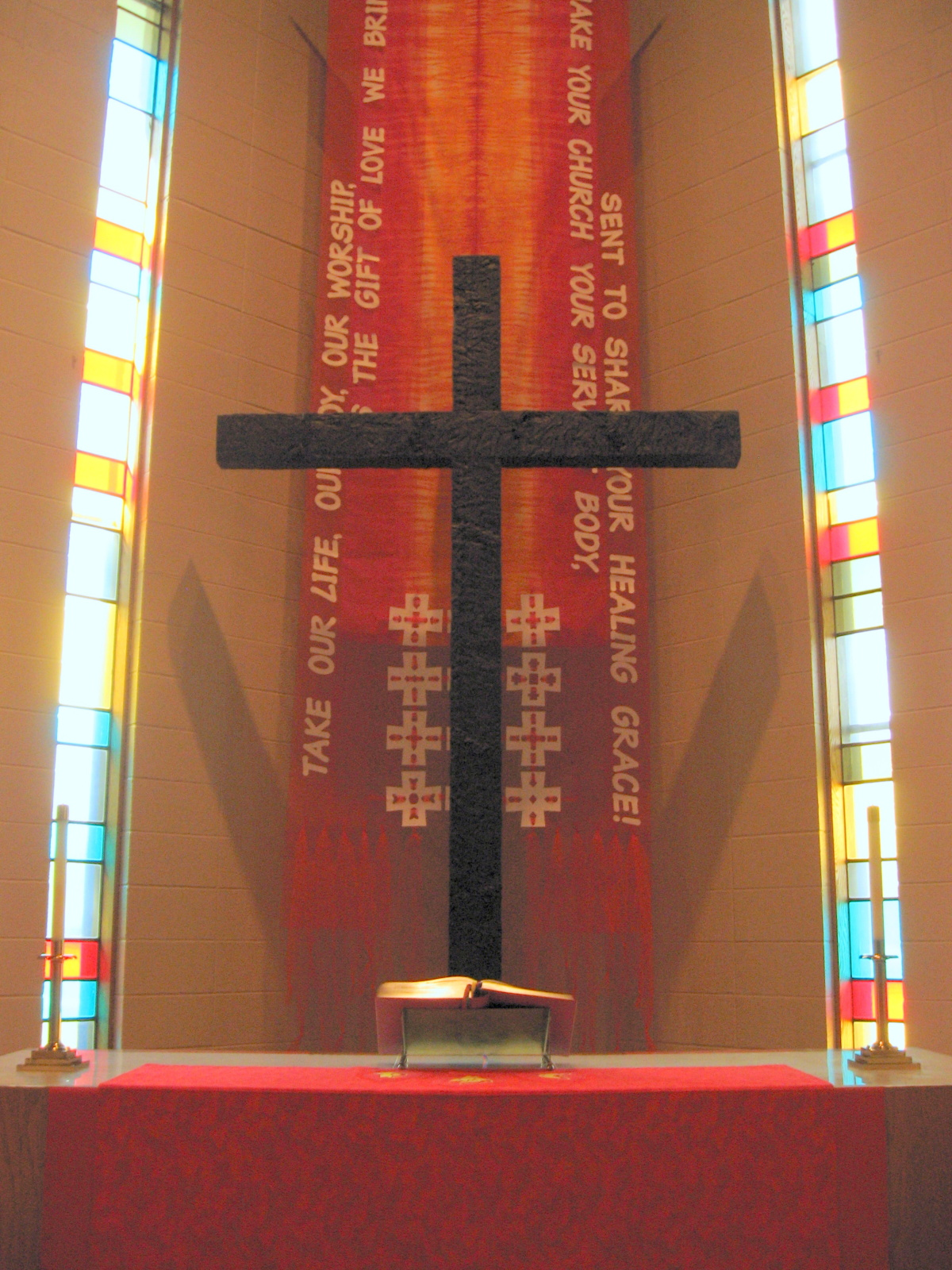 Pentecost-Confirmation, white cut-and-woven crosses
