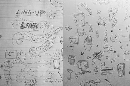 Sketches and planning for Link-Ups posters