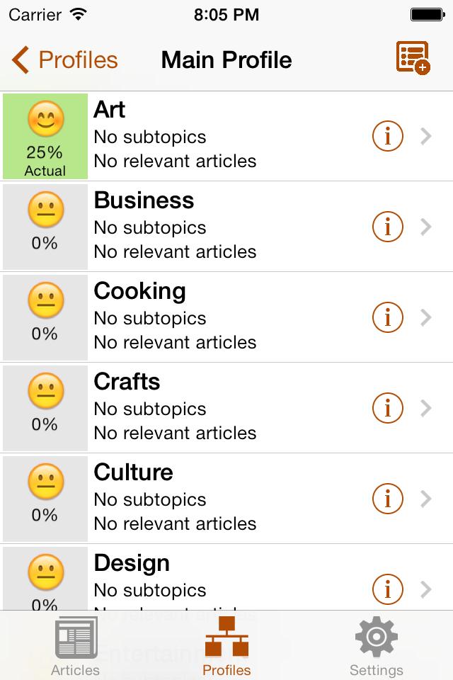 Topics Screen