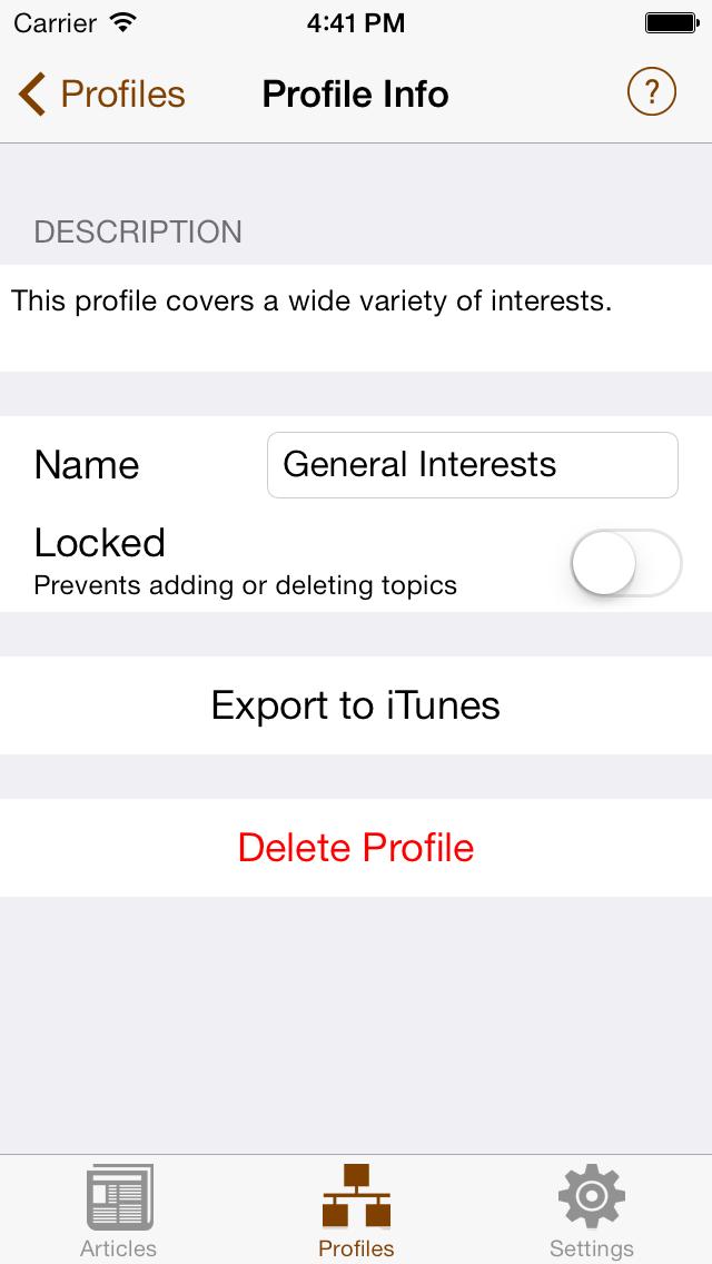 Profile Info Screen