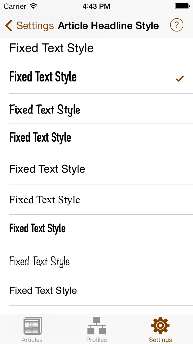 Text Styles Screen