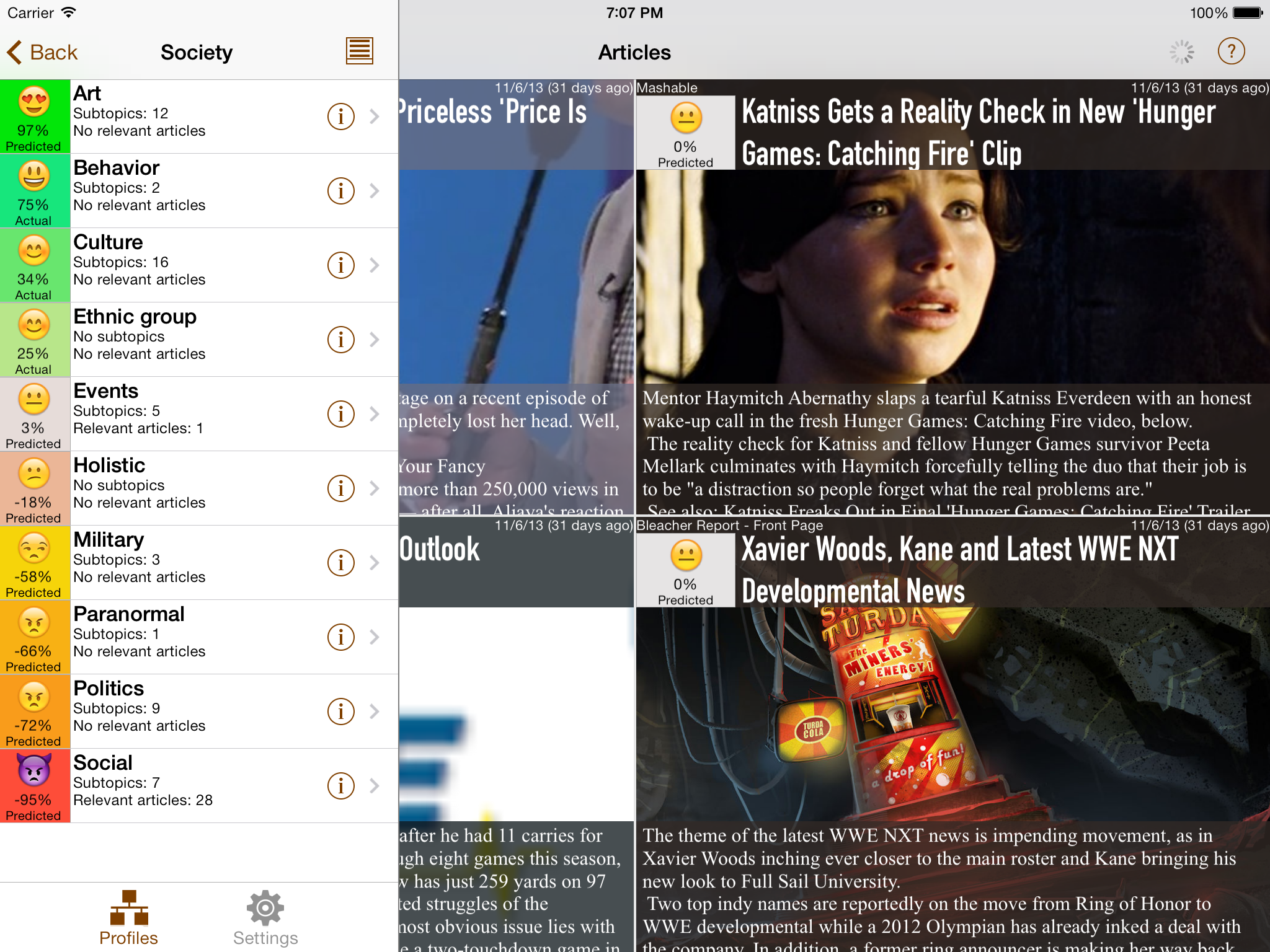 NewsBrain iPad Landscape with Articles and Topics