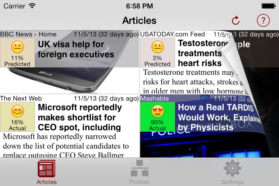NewsBrain iPhone Landscape Articles Page Flip
