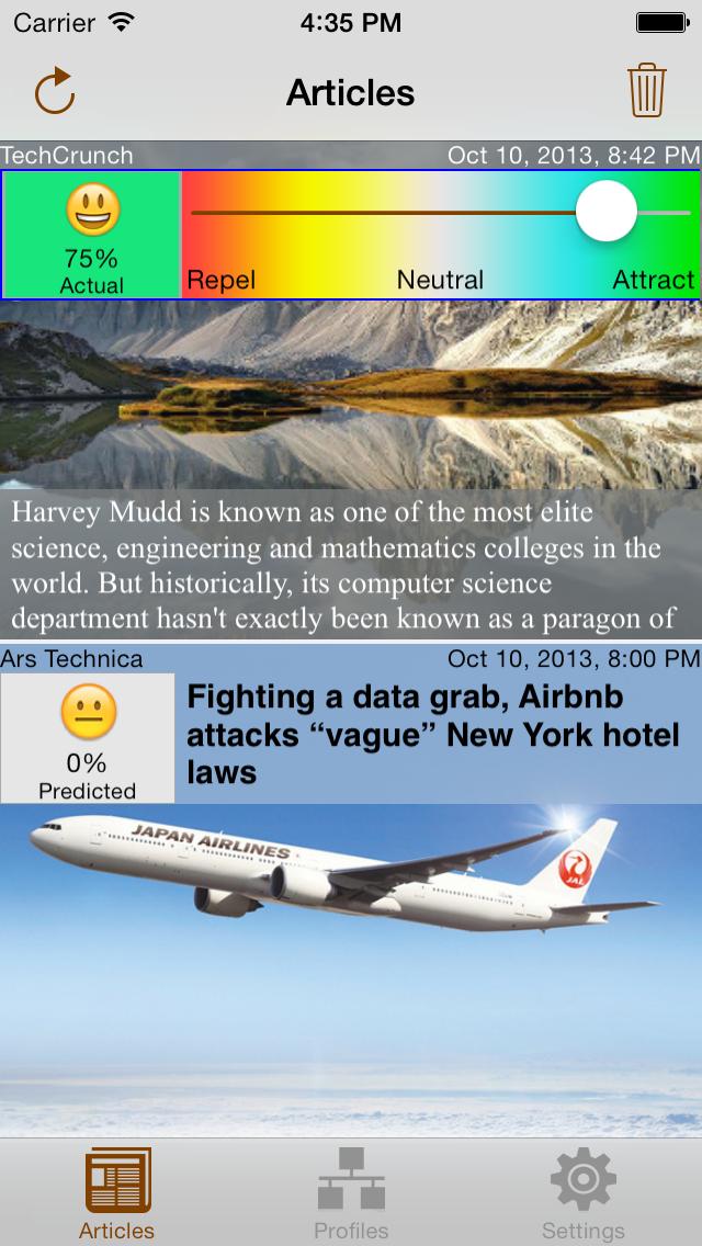 NewsBrain iPhone Articles Level View Slider