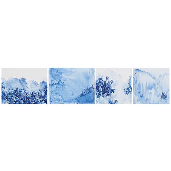 Pedro Varela Sem Título, 2013 Acrílica sobre linho 40 x 180 cm Políptico
