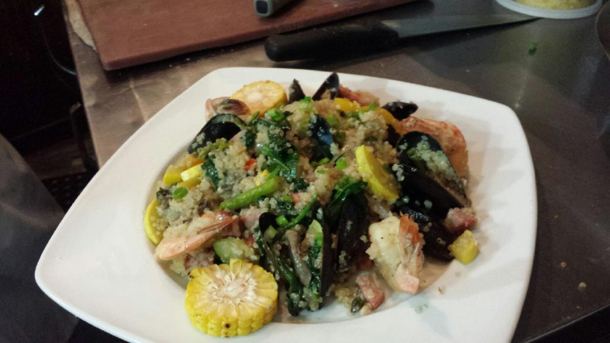 "SLOVAK ""PAELLA"" w/ our own kelbasa, shrimp, fall veg and pei mussels"