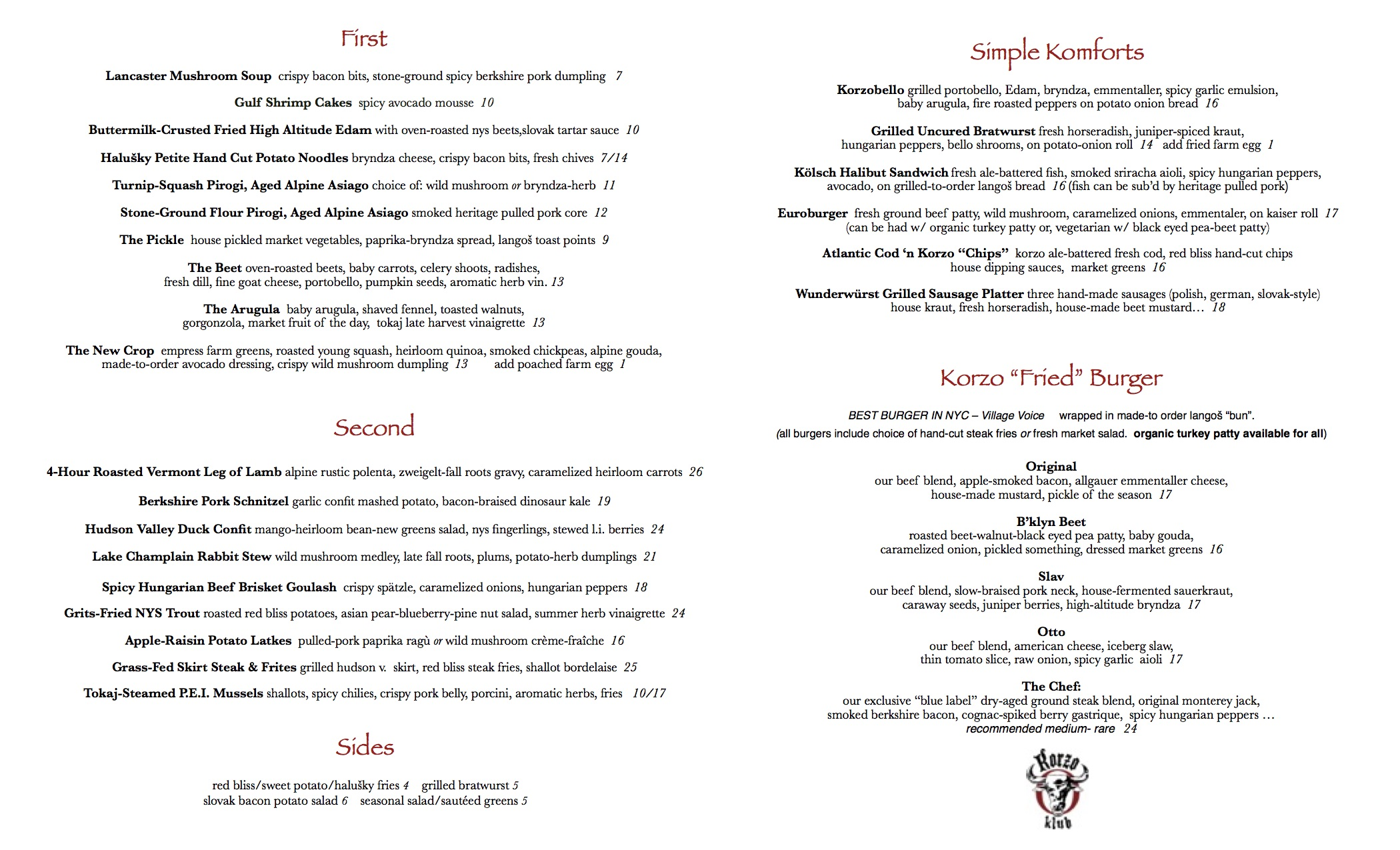 our sample Fall 2017 Menu . . . items and prices are subject to change based on what's available at the market.  we look forward to making you a great meal.