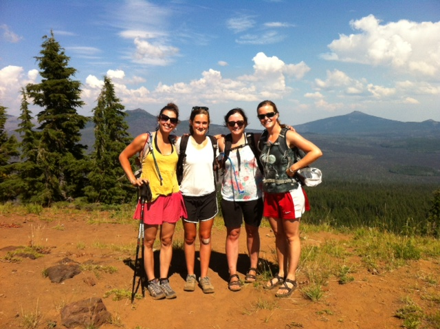 Me, Anna, Jodi and Maggie at the summit of Scott Mountain, Oregon.