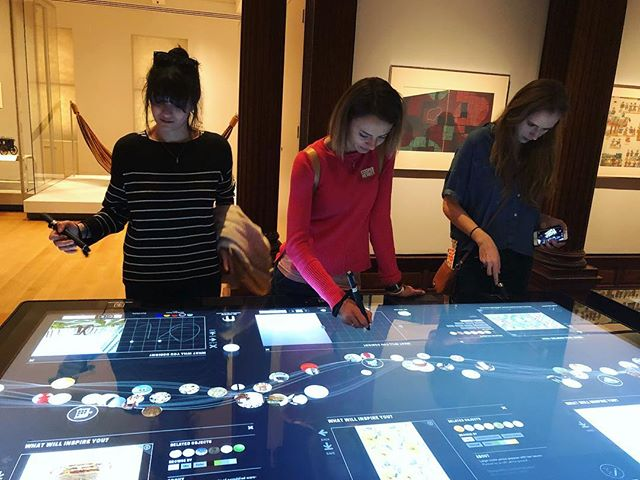GD seniors Ozi, Inna and Kristina exploring some interactive tables and art history at Cooper Hewitt! . . . . . #mecagdny18 #mecagdnyc2018 #mecagd #students #cooperhewitt #nyc #learning #interactive #display #graphicdesign #design