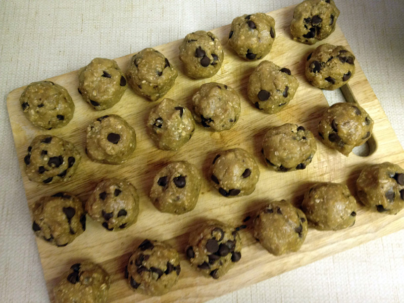 Chocolate chip cookies (before they're baked)