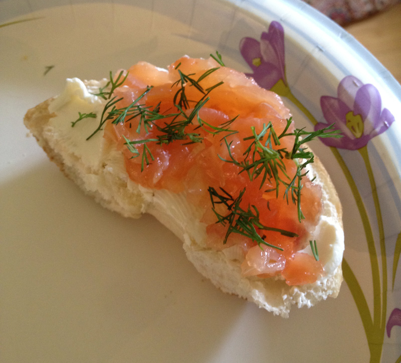Lox on bagel with cream cheese