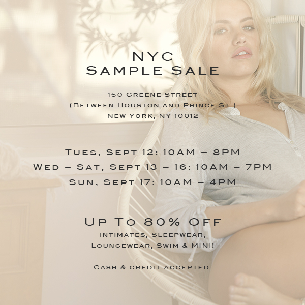 Project:  NYC Sample Sale Online Promo Materials: Email and Instagram   Client:  Eberjey   www.eberjey.com