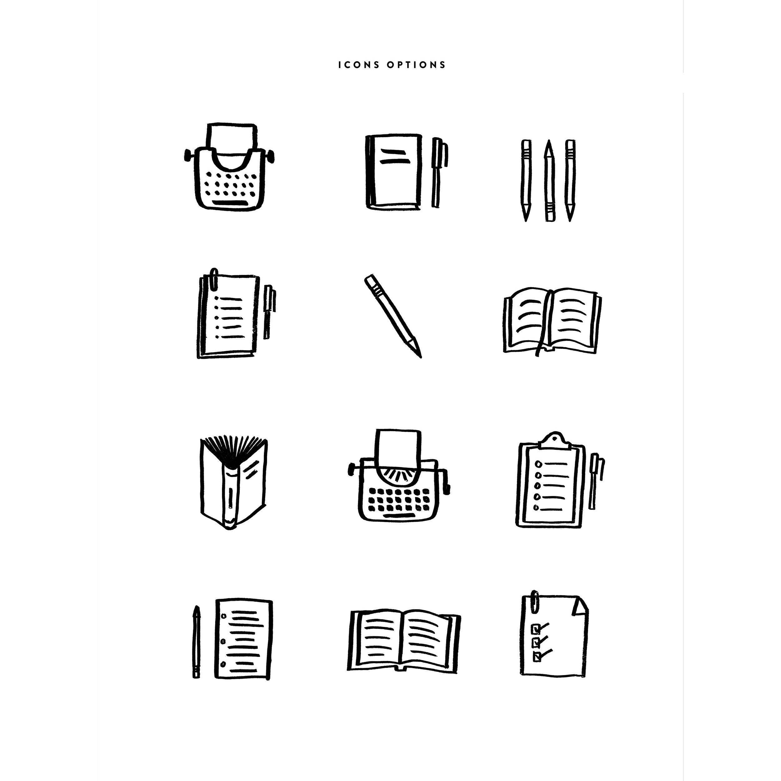 Project:  Writers' Icon Design for Website Elements   Client:  Jaime Hanson   https://www.jaimehanson.com/